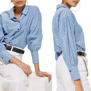 TOPSHOP Star Print Chambray Shirt Size